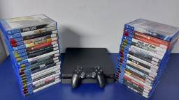 Playstation 4 Slim 500GB Semi Novo com garantia- Aceitamos PS3 mais volta