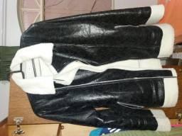 Jaqueta de poliuretano ou couro sintético tamanho G preto