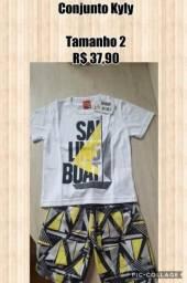 cde03c33ee887 Kyly - Conjunto Masculino Camiseta e Bermuda - Tamanho 02 - Pronta Entrega  - R