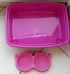 Caixa de areia + pote de ração e água