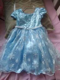 Vestido da Frozen, usado apenas uma vez, veste de 1 a 2 anos
