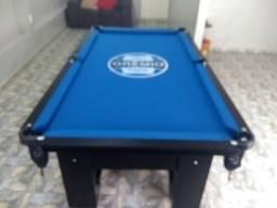 Mesa Charme de Bilhar Cor Preta Tecido Azul Logo Grêmio Mod. FCPG8355