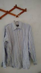 """Camisa """"colombo"""" listrada em tons de azul e branco"""