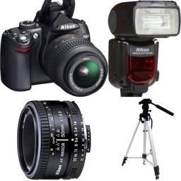 Equipamento Fotográfico (câmera, 50mm, tripé, flash)