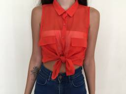 Blusa com transparência laranja