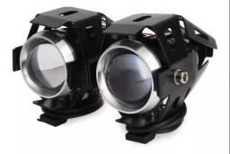 (NOVO) Kit Farol Milha Led Auxiliar Neblina Moto - U5 Kit Com 2unid