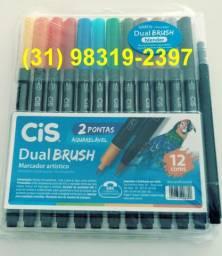 Marcador artístico dual brush c/ 12 marca cis