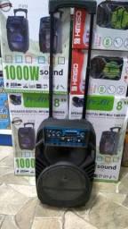 "Caixa amplificada 1000W P.M.P.O sub 8"" Bluetooth radio karaoke"