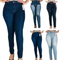 Calças jeans com lycra Cintura alta luxo Atacado Revenda kit 10 peças