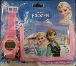 Relógio infantil com carteira feminino