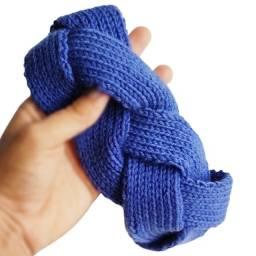 Faixa Tipo Turbante Trançado Tricot Azul Trança Frio Inverno