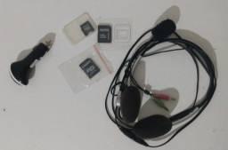Hedset +adaptador de cartão sd e Carregador USB para carro vendo ou troco
