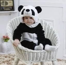 Linda Fantasia Macacão Infantil Urso Panda