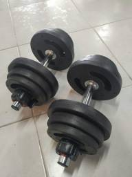 Kit Dumbbell Montado 12kg C/ Anilhas Injetadas + Barra Tubular FC Sports