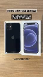 iPhone 12 mini 64GB Preto 4 meses de uso