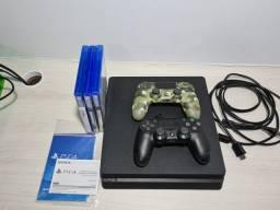 PS4 Slim Usado 500GB com 2 controles e 3 jogos