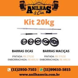 Kit Musculação 20kg Anilhas