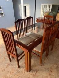 Conjunto Mesa de Jantar 6 Cadeiras, Buffet e Espelho