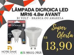 Lâmpada Dicroica LED Mr16 4,8W Avant Branca ou Amarela Bivolt