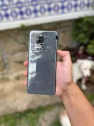 Samsung s20 ultra com caixa pelicula e nota.