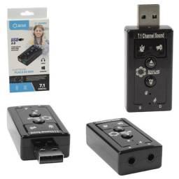 Adaptador Placa De Som 7.1 / USB 2.0 / P2 / Fone/Microfone - Novo
