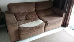 Sofá retrátil Enele, encosto reclinável Suede marrom chaise