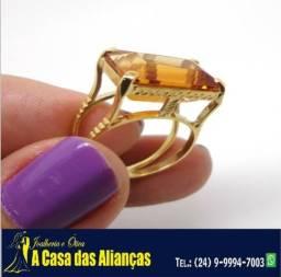 Anel Ouro 18 Kilates - Pedra Turmalina 10 Gramas