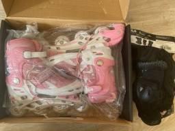 Patins Oxer Rosa + Kit de Proteção Fila