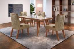 Conjunto Mesa Hera Sala de Jantar Com 4 cadeiras Castanho Prêmio Tampo Off White 100% MDF