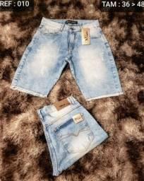 Jeans de primeira linha bermudas e calças