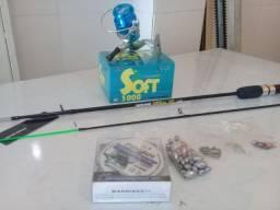 Kit pesca molinete, vara , linha , chumbo, anzois