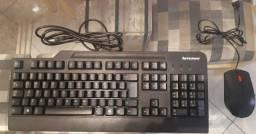Kit Teclado E Mouse Usb Lenovo Slim Com Fio