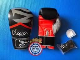 Kit Luva de Muay Thai, Bandagem e Protetor Bucal