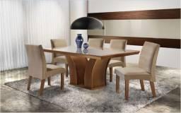 Conjunto Mesa de Jantar com 6 Cadeiras Leblon