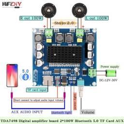 Placa amplificadora xh-a105 100w + 100w stereo com bluetooth