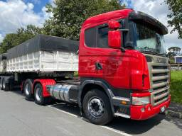 Conjunto engatado Scania G420 + Bitrem basculante Randon ano 11 rodas a disco
