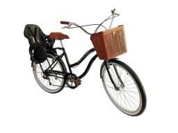 Bicicleta com cadeirinha aro 26 estilo retrô 6 marchas nova