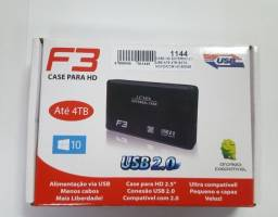 "Case Hd externo 2.0"" USB até 4TB sata - Novo/com HD 500gb"