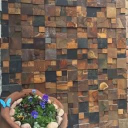 Mosaico de Pedra Ferro Basalto 3D Natural Ferrugiminoso Parede Promoção DoMeuGosto