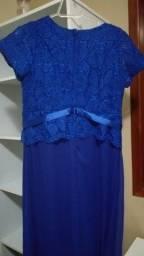 Vestido azul de renda