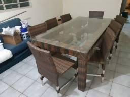 Mesa alumínio com 8 cadeiras