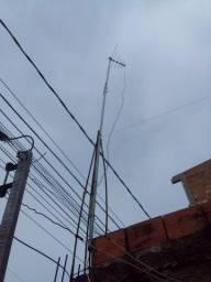 Antena com duas vara de ferro pra estalar e dez metros de fio