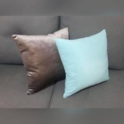 Almofadas em Veludo e Suede - Ródio / Azul Turquesa
