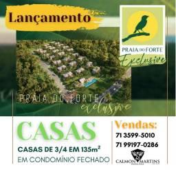 Casas de 3/4 em 136m² na Praia do Forte