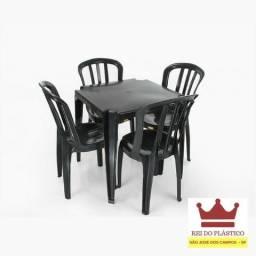 Conjunto Mesa e Cadeira 182kg Bistrô Preto - Rei do Plástico