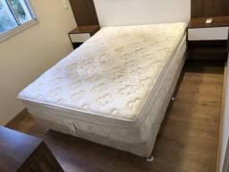 Colchão Ortobom com pillow top + box de madeira