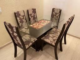 Mesa com tampo de vidro retangular com cadeira 6 lugares
