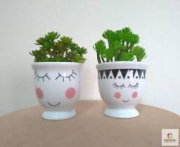 Vasinhos Cachepots Decorativos Cílios Em Cerâmica Kit C/2pçs