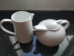 Jarra de Porcelana 750 ml e Bule de Porcelana 1 Litro Branca - Leia o Anúncio!!!