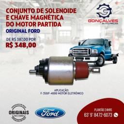 CONJUNTO DE SOLENÓIDE E CHAVE MAGNÉTICA DO MOTOR DE PARTIDA ORIGINAL FORD F-350/F-4000